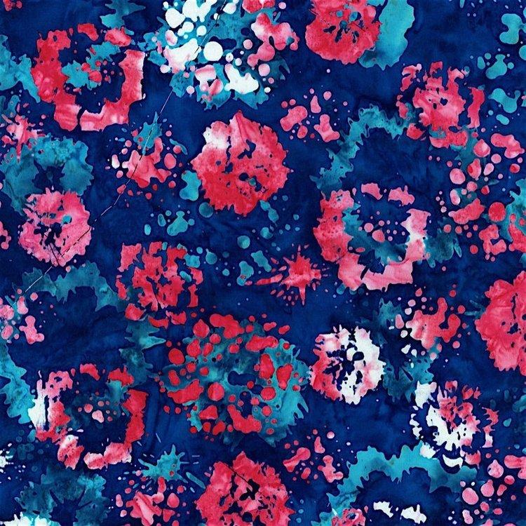 RJR Blossom Batiks  2814-002 INK FLORAL - AMERICAN BEAUTY