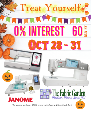 Halloween Week Janome Financing 0% for 60 months