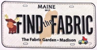 The Fabric Garden Row by Row experience license Plate
