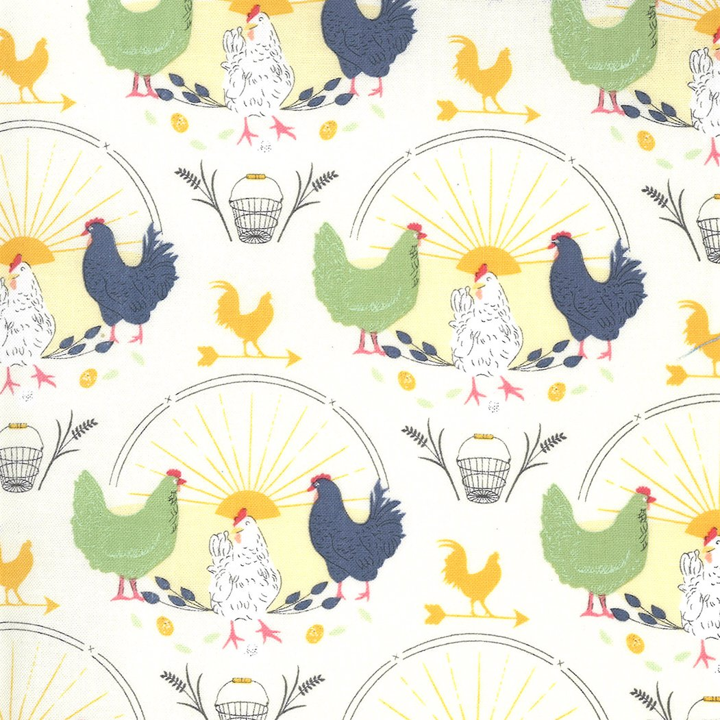 Moda Break of Day 43100 11 Ivory - Greet The Day Novelty Chickens