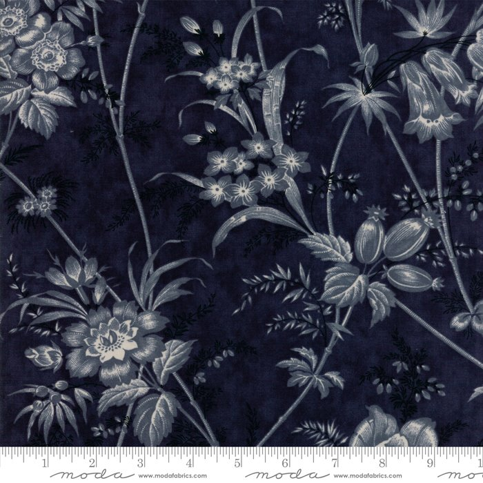 Moda Fabrics - Holly Woods by 3 Sisters - 44170 16 - Floral Toile Midnight Blue
