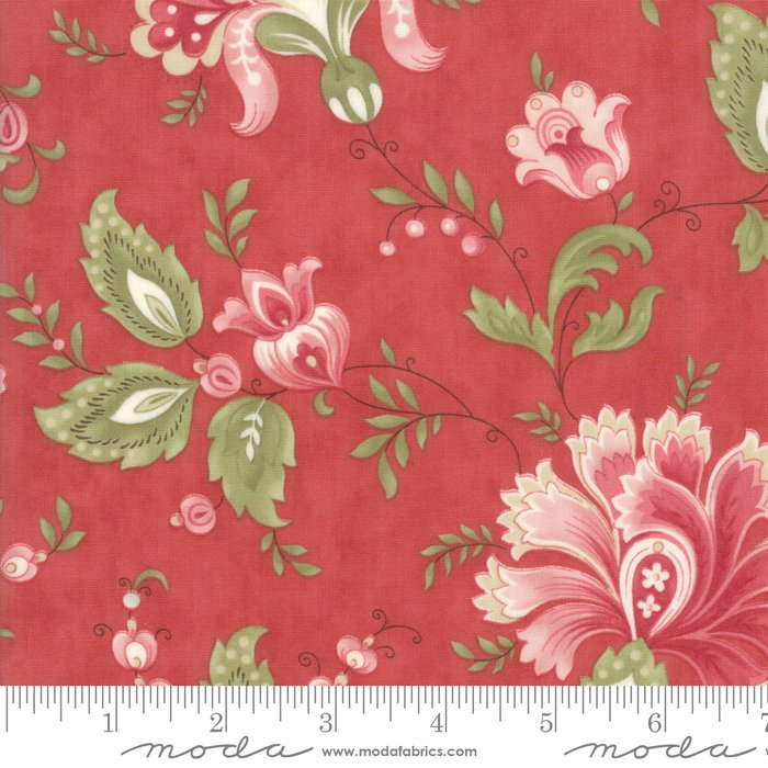 Porcelain by 3 Sisters for Moda Fabrics - 44190 16 Jacobean Rose Red