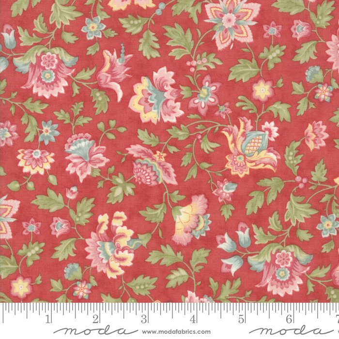 Porcelain by 3 Sisters for Moda Fabrics - 44191 16 Floral Flourish Rose Red