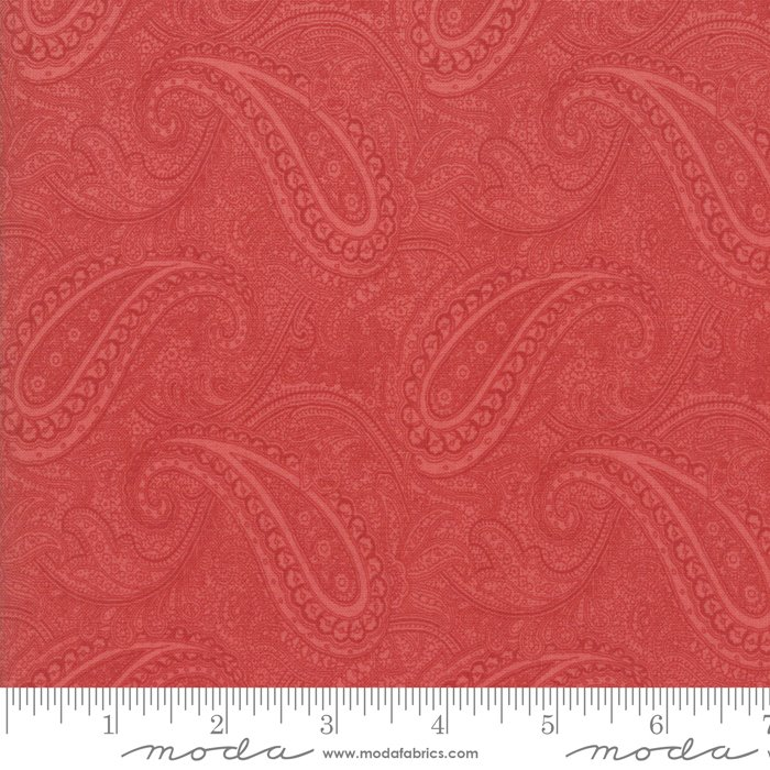 Porcelain by 3 Sisters for Moda Fabrics - 44192 16 Floral Etched Paisley Rose Red