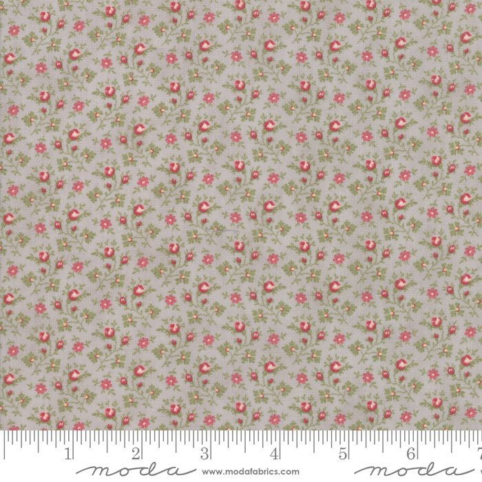 Porcelain by 3 Sisters for Moda Fabrics - 44195 13 Floral Rosebuds Silver Grey