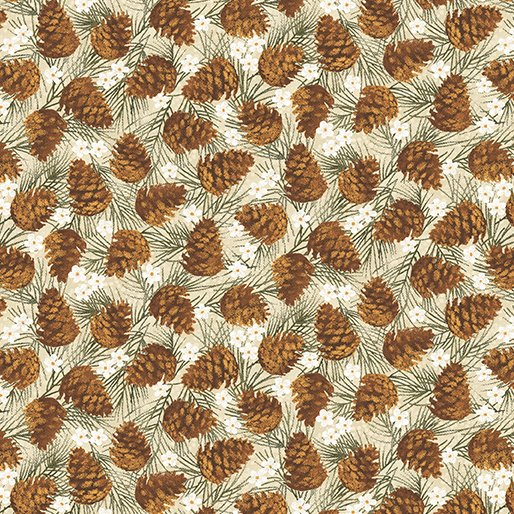 Benartex Winter Wonderland 04653-70 Pinecones Natural