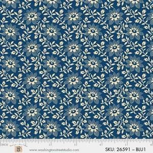 P&B King Quilt Wide Back - 4704 26591 BLU1 FLOWERS