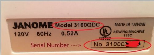Janome Serial Number - How to find