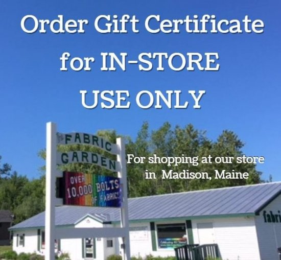 Gift Certificate for in-store use only