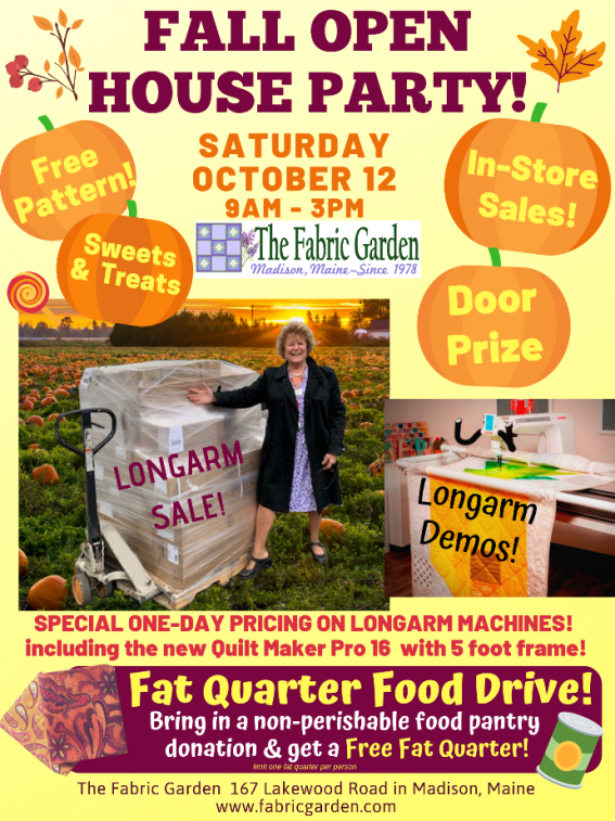 Fall Open House Party at The Fabric Garden in Madison Maine