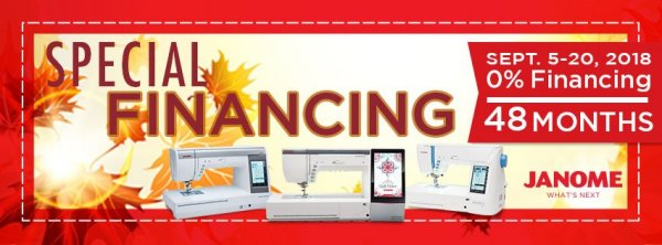 48 month special financing on janome machines - september 5-20 in-store