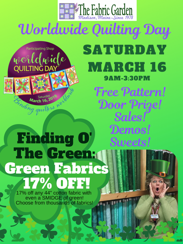Worldwide Quilting Day Saturday March 16 at The Fabric Garden