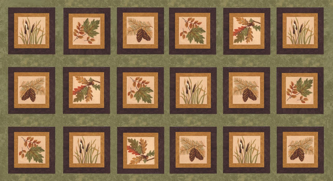 Moda Fall Impressions Flannel by Holly Taylor   6700 18F Basil PANEL Leaf Pine Cone Cat Tails