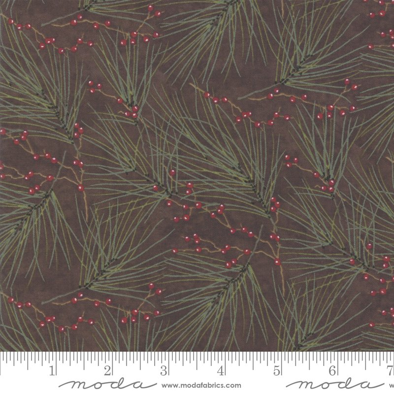 Moda Winter White: 6812 13 Saddle Brown Needles by Holly Taylor