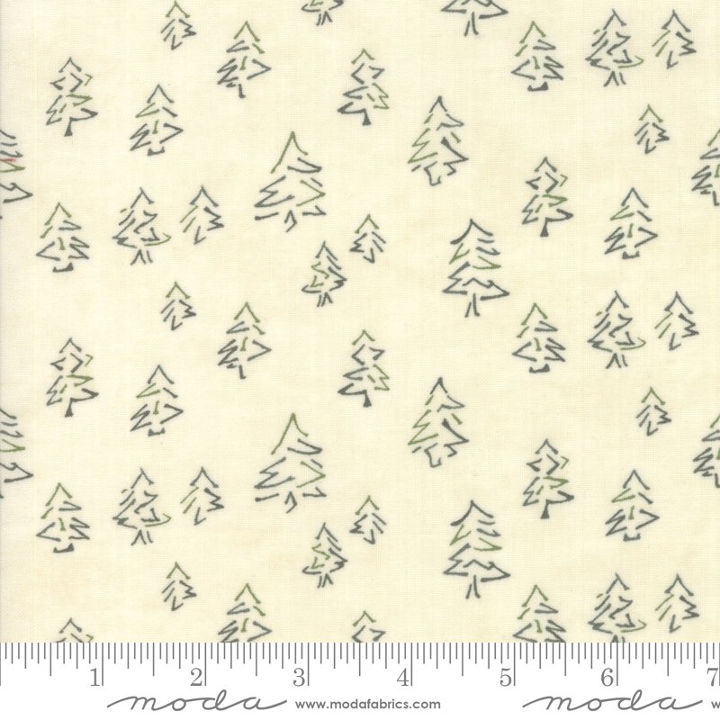 Moda Winter White: 6814 19 Pearl Pine Trees by Holly Taylor