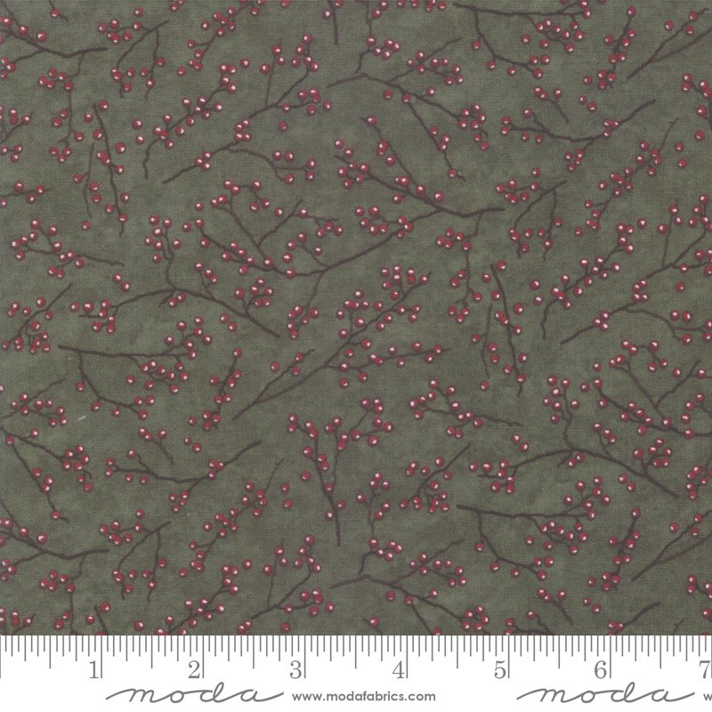 Moda Winter White: 6817 16 Pine Green Berries by Holly Taylor