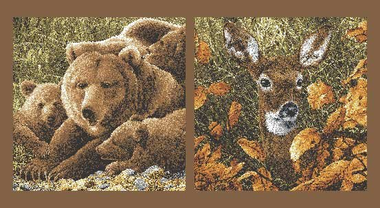 Andover Northwoods Bear Deer Panel 8240-N