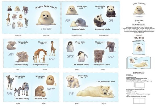 Elizabeth's Studio Animal Friends Whose Baby Am I? Book Panel 7302-Blue