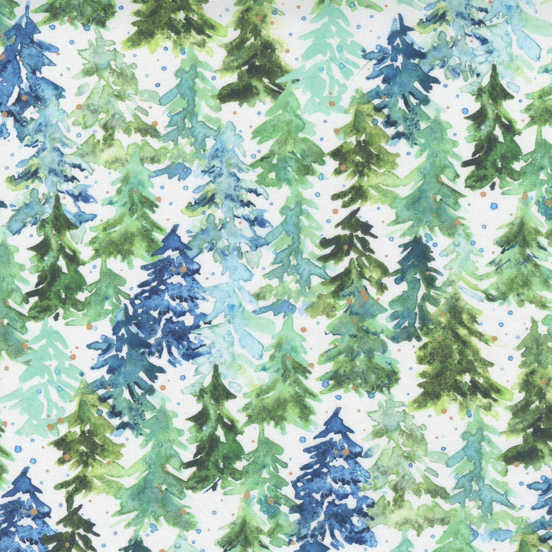 Moda Starflower Christmas 8482 11 WHITE Watercolor Winter Forest Trees
