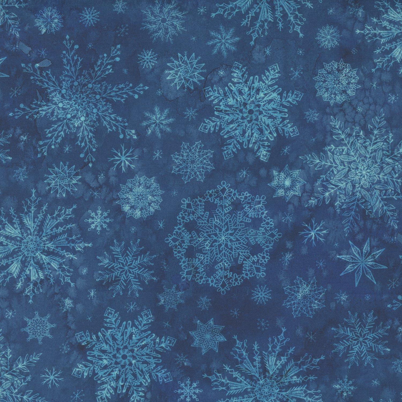 Moda Starflower Christmas 8483 15 NAVY Watercolor Snowflakes Blender