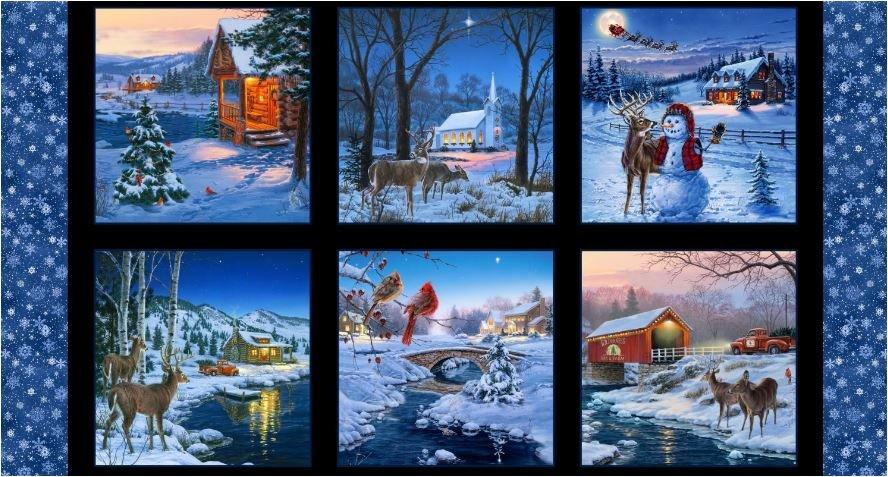 Elizabeth Studio - Country Christmas Panel 8904E- BLK