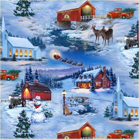 Elizabeth Studio - Country Christmas Allover 8905E- BLU