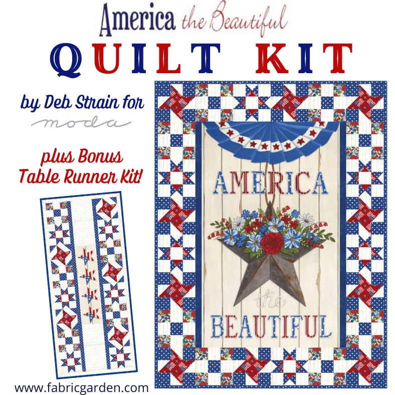 Moda - America The Beautiful WALL QUILT KIT 19980 Quilt Kit PLUS makes Bonus Table Runner