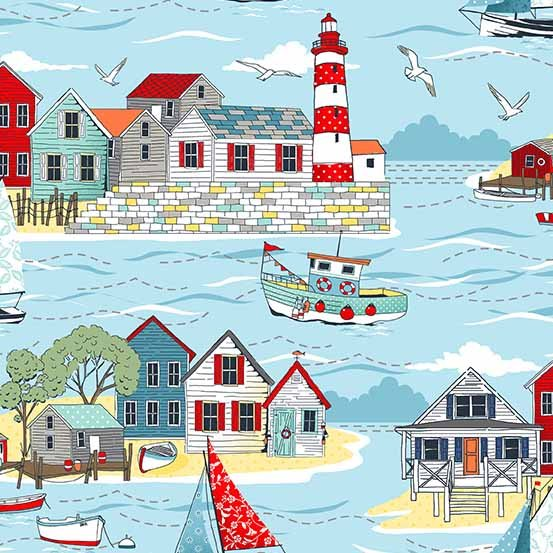 Andover Makower - Sea Breeze TP-2079-1 Lighthouse Sea Side Scene