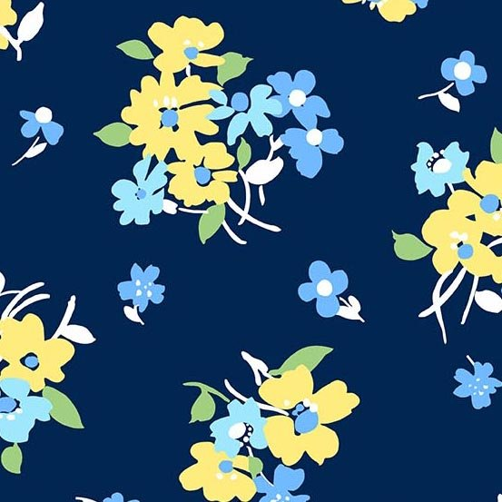 Andover| Only You A-9048-B Blue Yellow Floral Toss