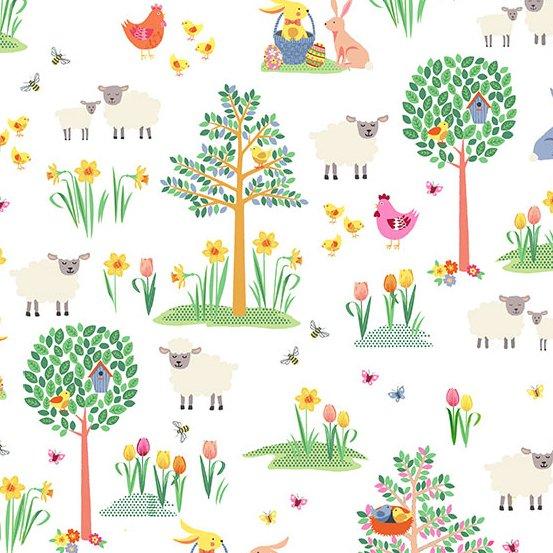 Andover SPRING TP-2187-Q Farm Garden Chickens Sheep Birds