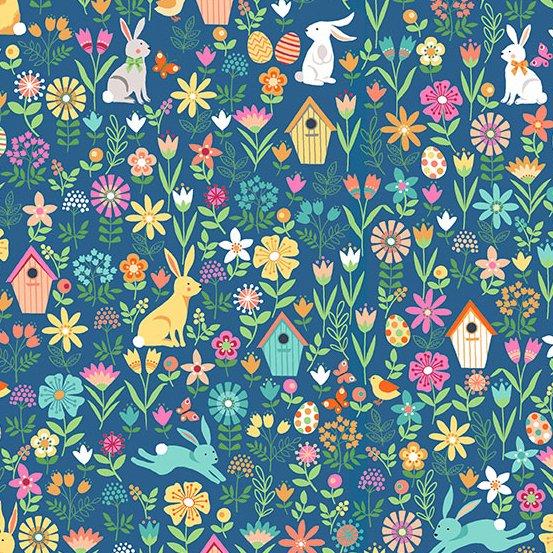 Andover SPRING TP-2188-B Bunnies Flowers Garden Easter Eggs