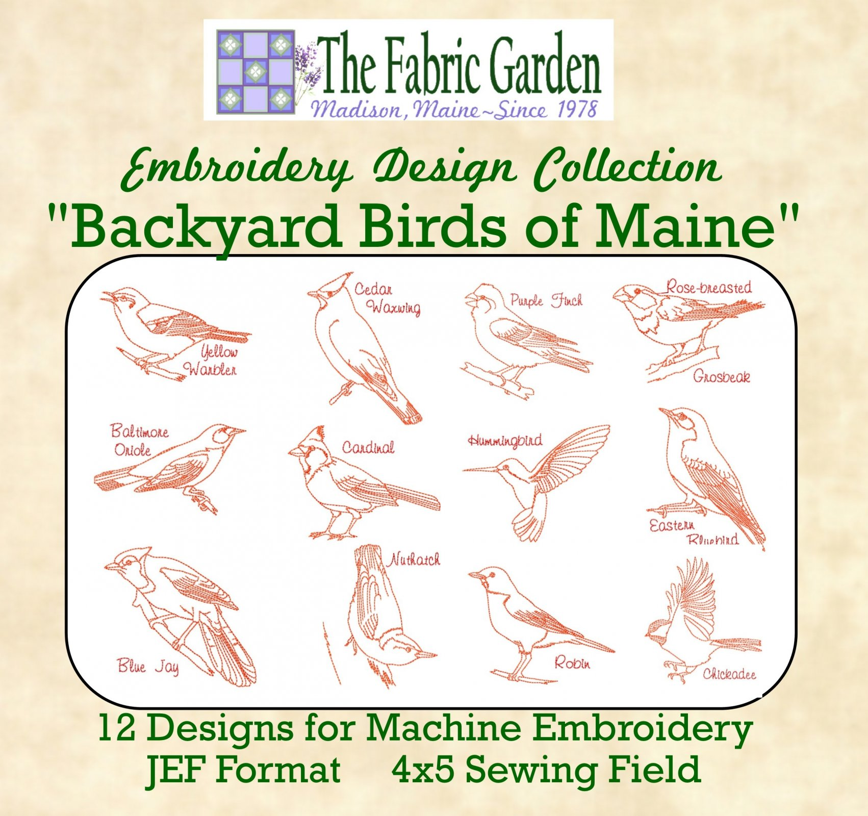 Embroidery CD -  Backyard Birds of Maine -  12 Designs for Machine Embroidery