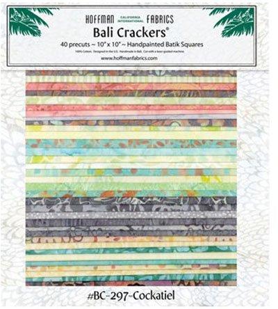 Cockatiel Bali Crackers - 10 squares of Hoffman Batiks