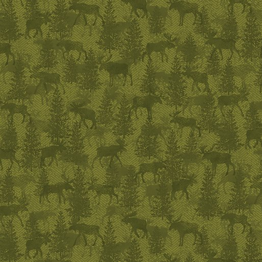 Another Moose Is Loose - Benartex 0961344B Moose Twill Crossing Green