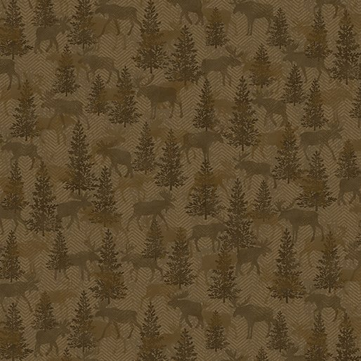 Another Moose Is Loose - Benartex 0961378B Moose Twill Crossing Mocha