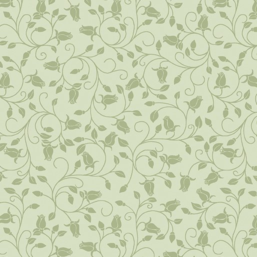 Benartex - A Festival of Roses 6643P 42 Trailing Buds Green Pearlescent