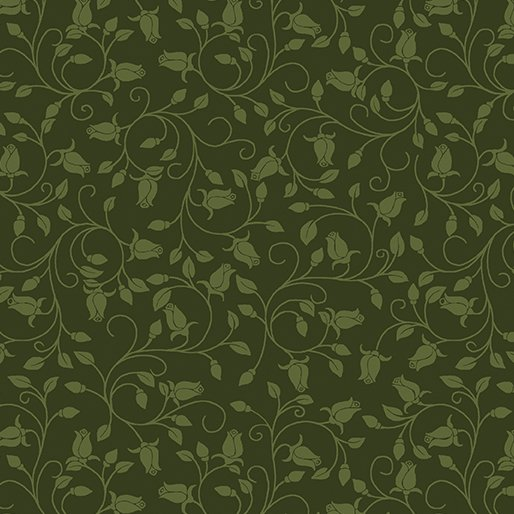 Benartex - A Festival of Roses 6643P 44 Trailing Buds Dark Green Pearlescent