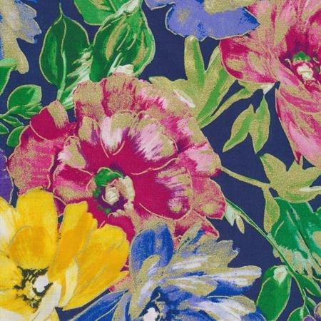 Kanvas - Watercolor Wishes 7944M 55 In Full Bloom Navy - Metallic