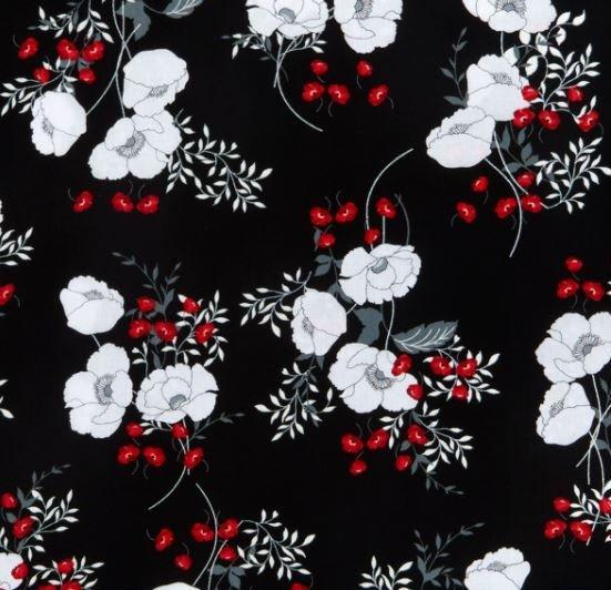 Kanvas - Poppy Promenade 7982P 12 Poppy Bouquets Black Pearlescent