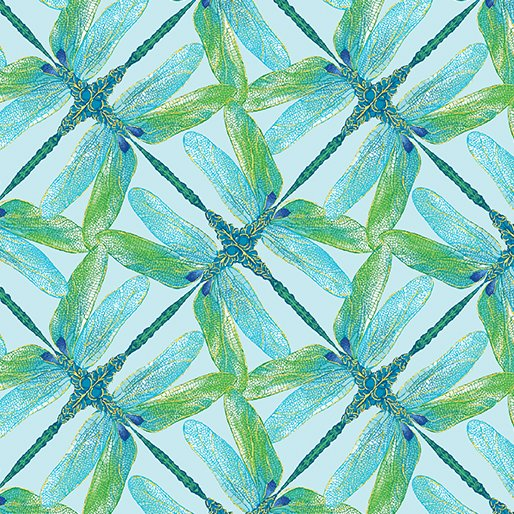Benartex Dance of the Dragonfly 8502M 84 Pinwheel Geo Aqua/Green