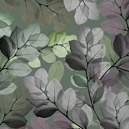 Benartex - Essence of Pearl | Sheer Leaves Green 8727P 44