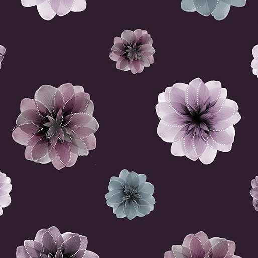 Benartex - Essence of Pearl | Floating Blossoms Purple 8729 66