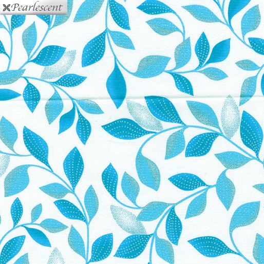 Kanvas - Pearl Reflections 8806P 04 Shimmer Leaves - White/Teal