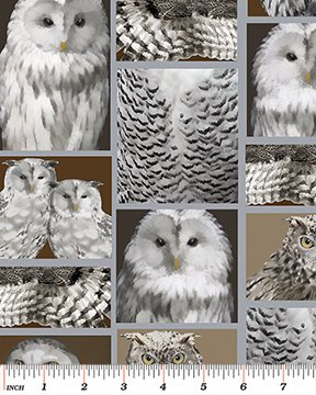 Benartex - Great Northern Wilderness - Silver Feathered Owlet Flannel 5037F 11