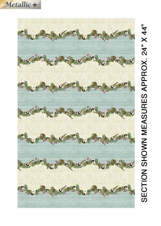 Benartex Festive Chickadees 4210M 52 Chickadee Stripe Seamist