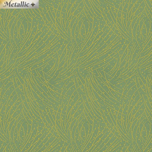 Benartex Festive Chickadees 4745M 43 Golden Pine Leaf Green