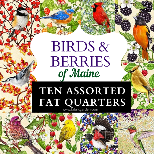 10 ASSORTED FAT QUARTERS from Birds and Berries of Maine - Maine Shop Hop 2020 Fabrics