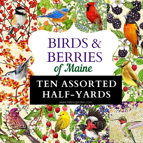 PRE-ORDER: 10 ASSORTED HALF-YARD CUTS from Birds and Berries of Maine - Maine Shop Hop 2020 Fabrics