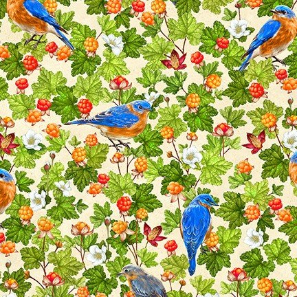 PRE-ORDER: Birds and Berries of Maine: Eastern Bluebird & Cloudberry AHYD-19585-443  - Official Maine Shop Hop Fabrics 2020