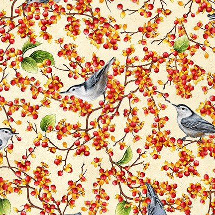 Birds and Berries of Maine: Nut Hatch & Bittersweet AHYD-19586-444 - Official Maine Shop Hop Fabrics 2020